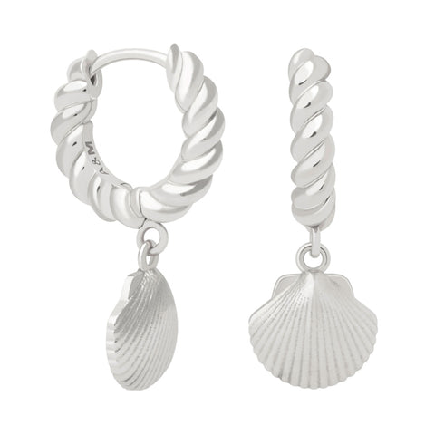 Rope & Shell Hoops in Silver