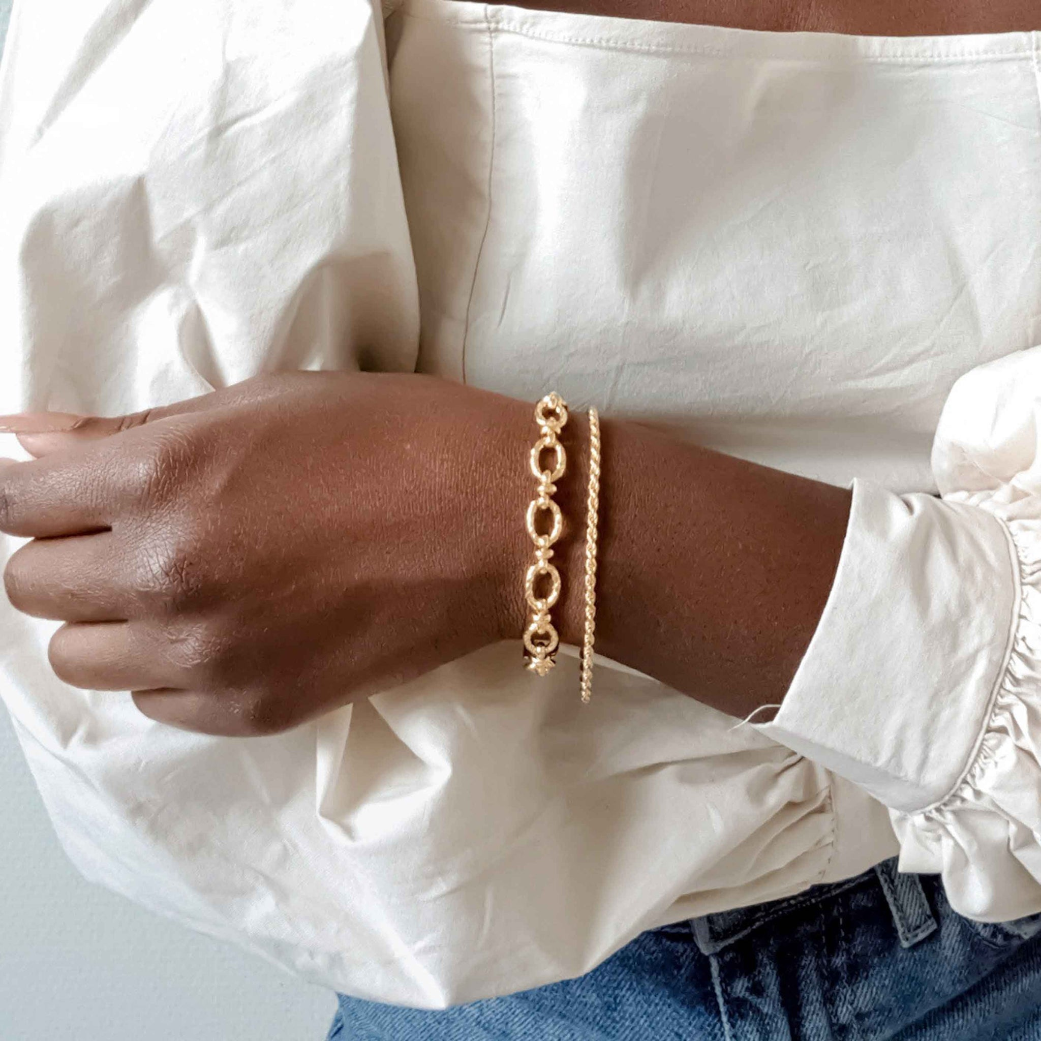 Rope Chain Bracelet in Gold worn with chunky gold bracelet