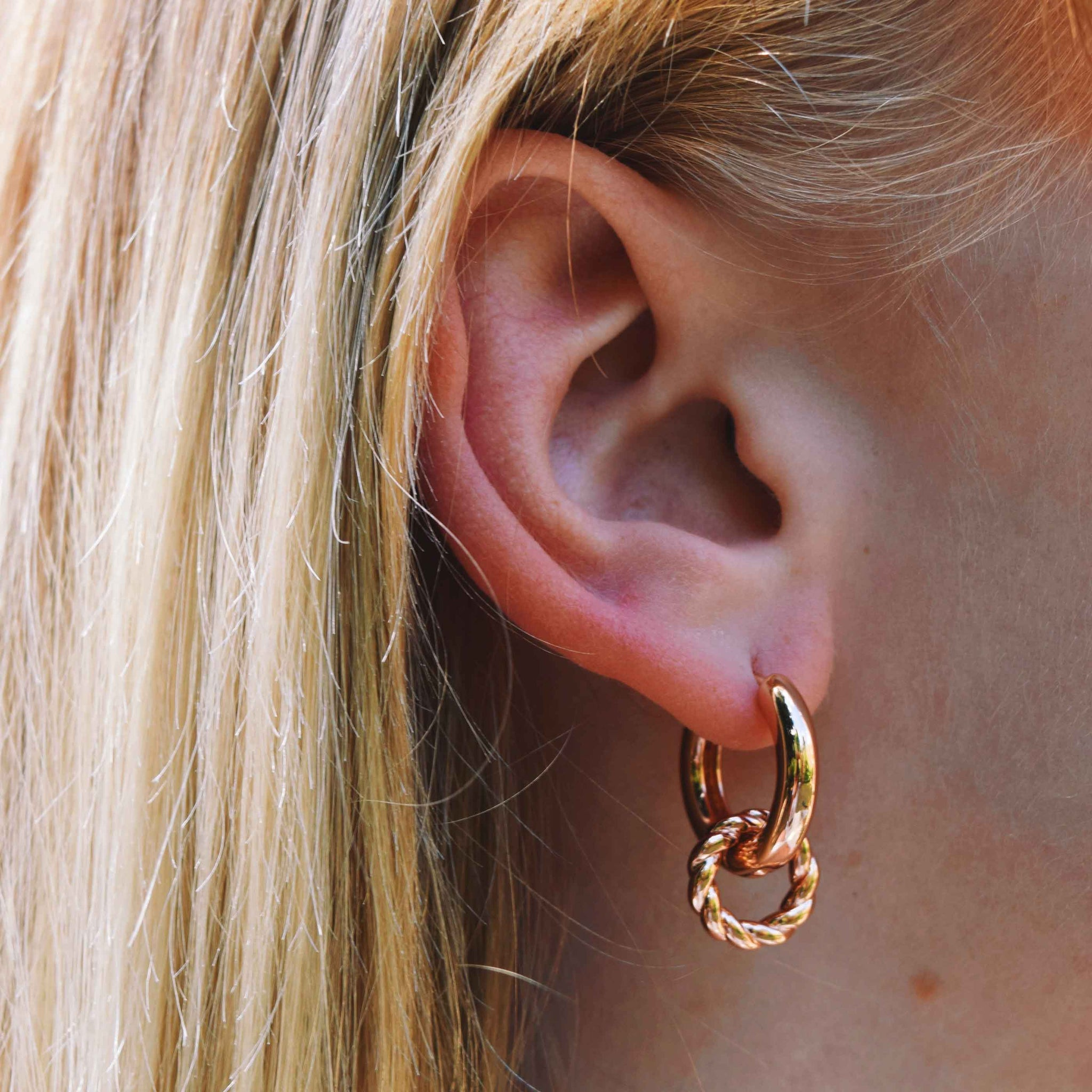 Rope Charm Hoops in Rose Gold