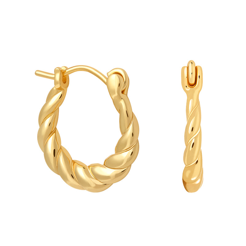 Twisted Mini Hoops in Gold