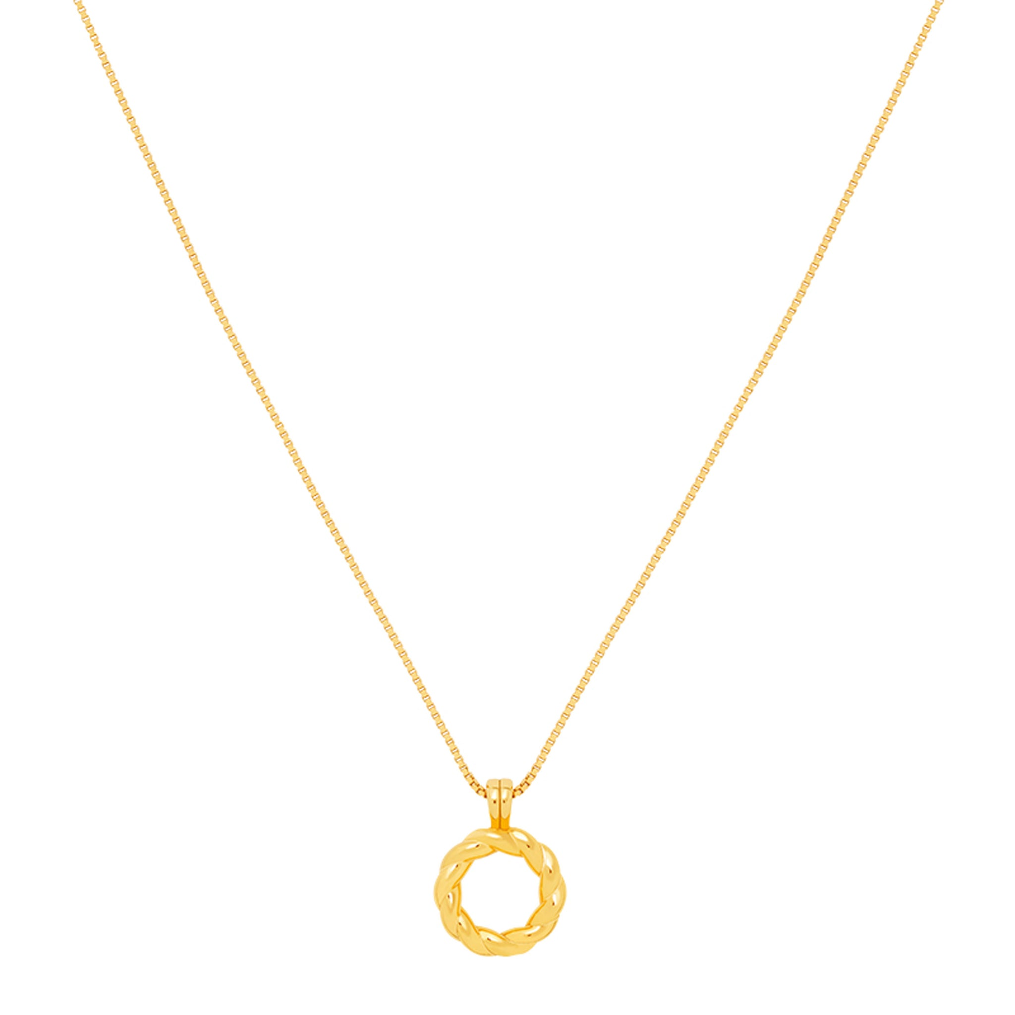 Rope Ring Pendant Necklace in Gold