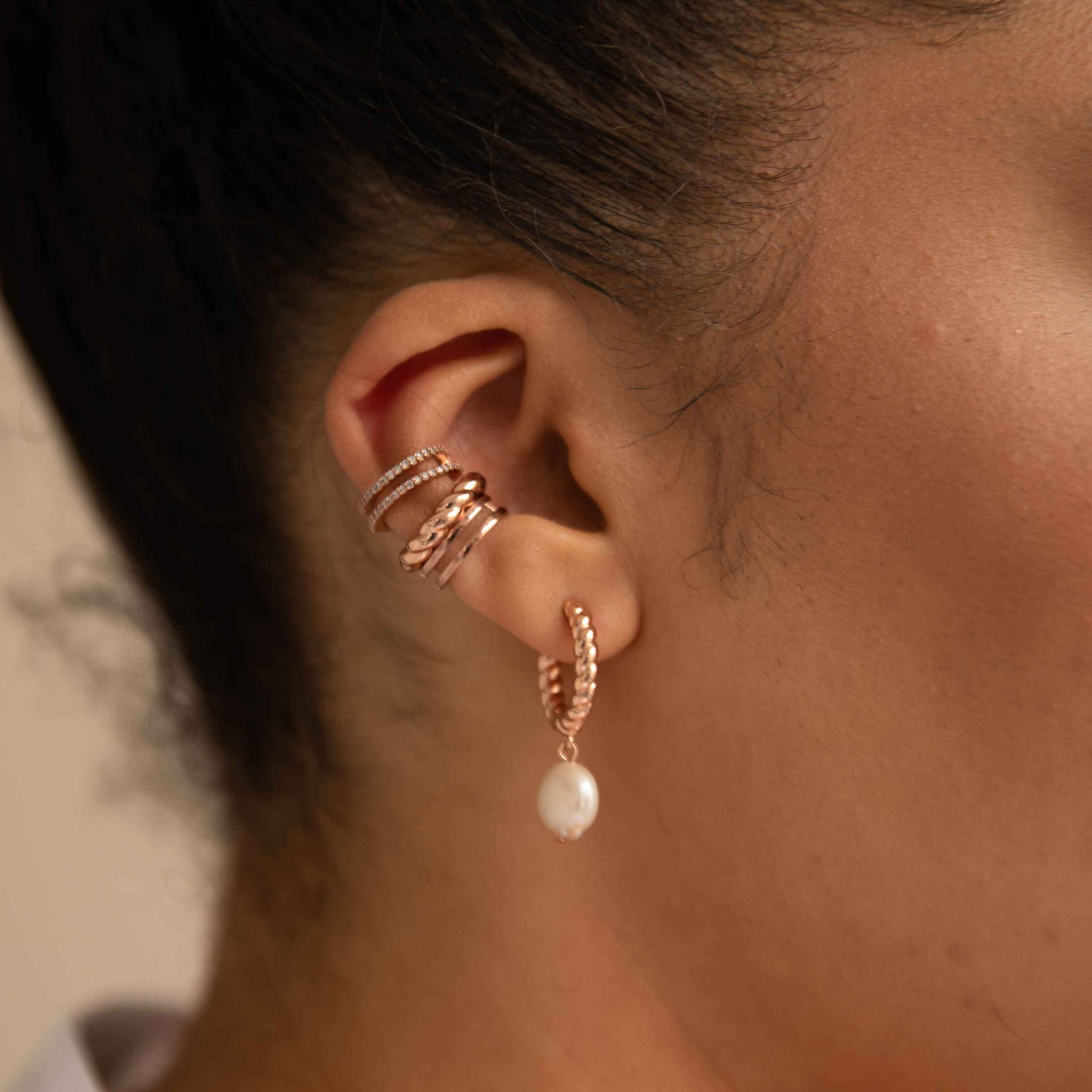 Rope & Pearl Pendant Hoops in Rose Gold worn with ear cuffs