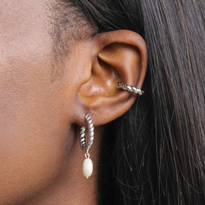 Rope & Pearl Pendant Hoops in Silver worn with chunky rope ear cuff
