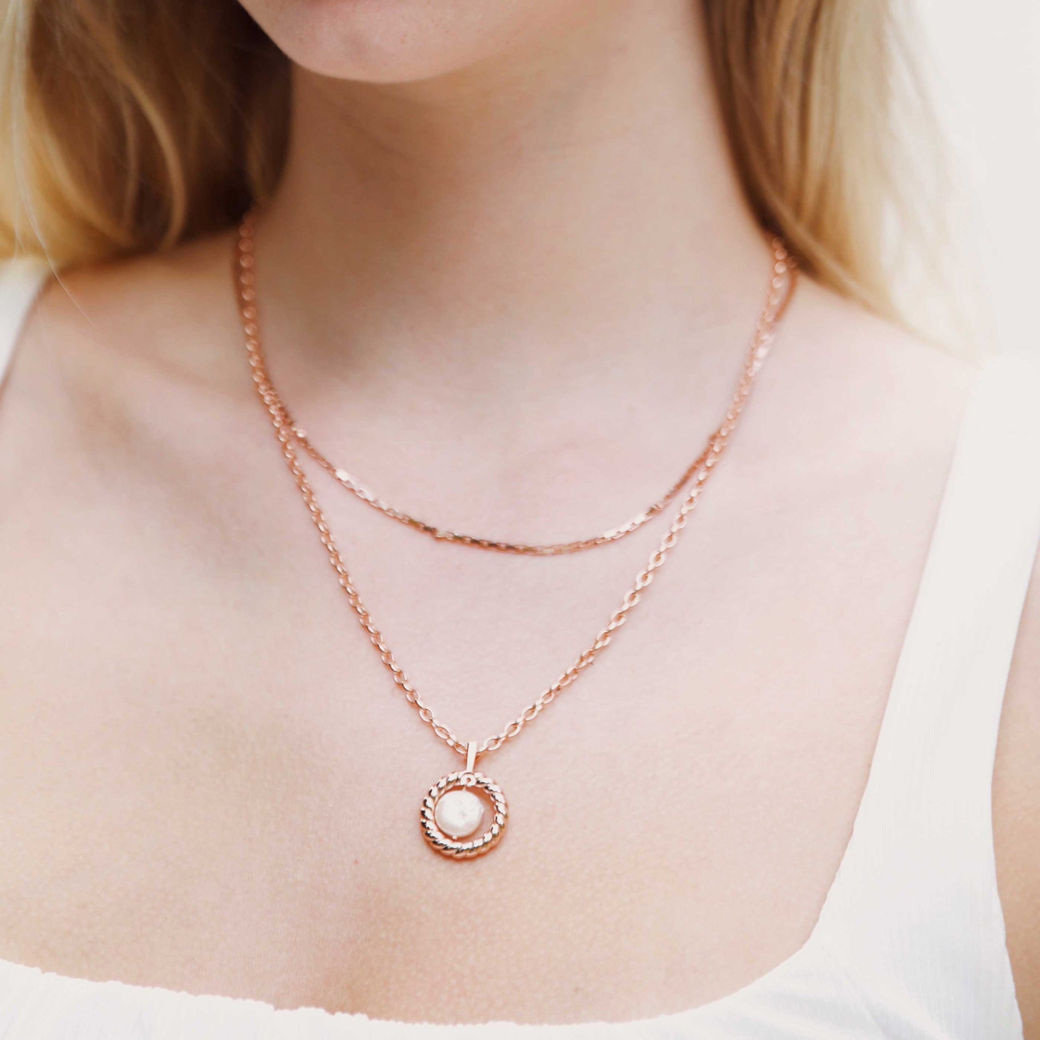 Rope & Pearl Pendant Necklace in Rose Gold worn with chain necklace