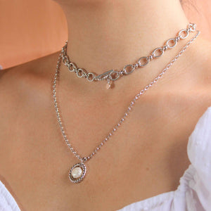 Rope & Pearl Pendant Necklace in Silver worn with tbar necklace