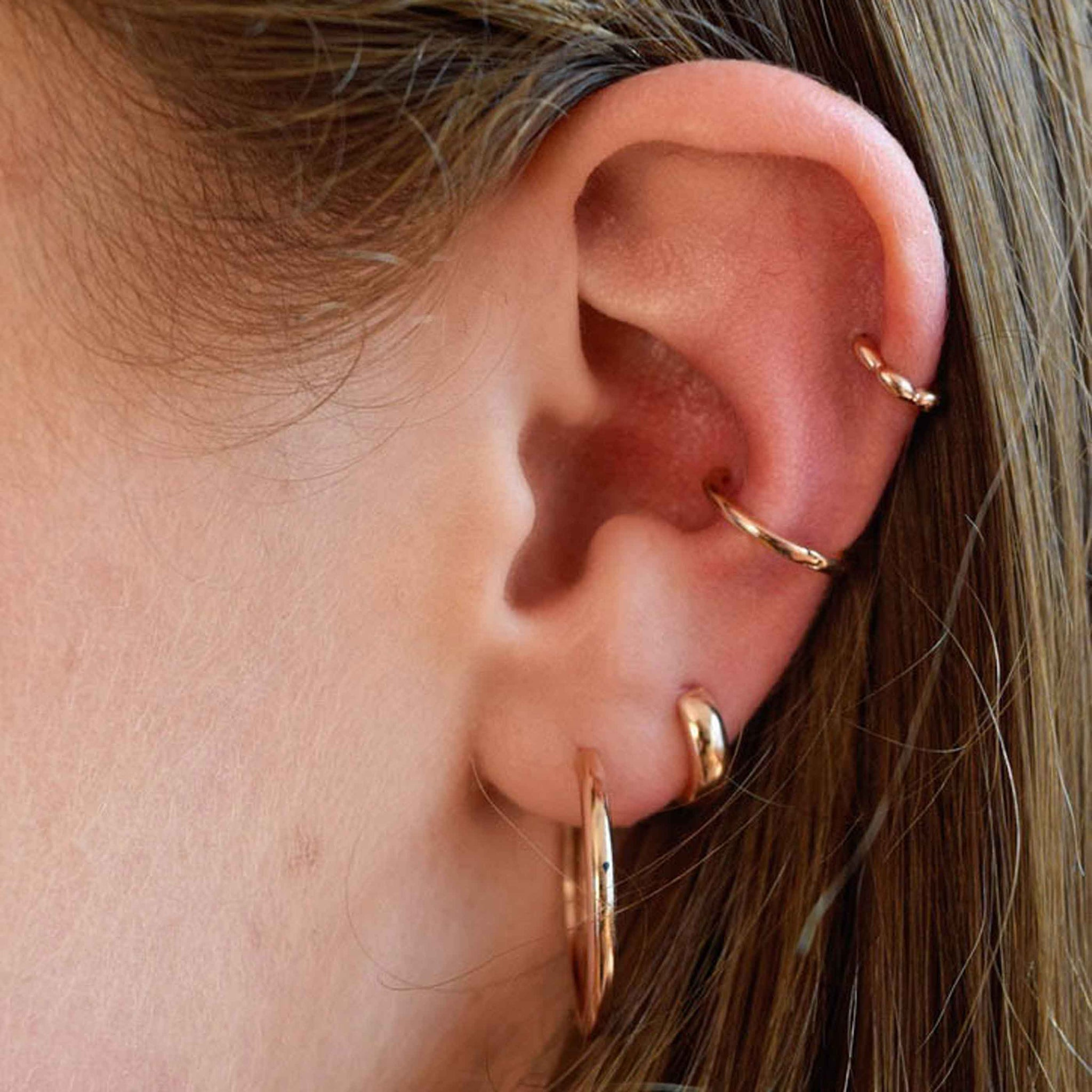 Simple Conch Hoop in Rose Gold worn shot