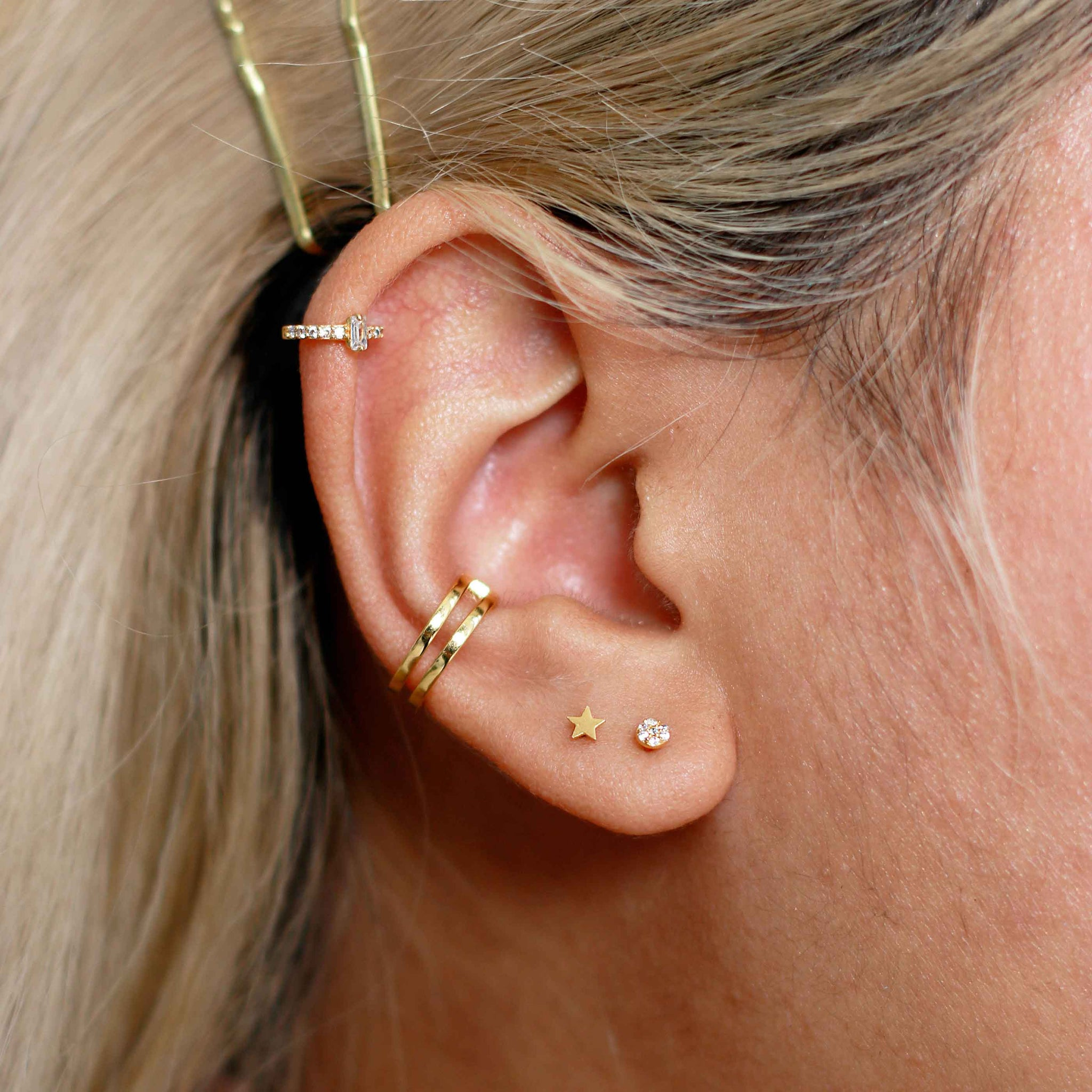 Simple Star Barbell in Gold on Ear Stack