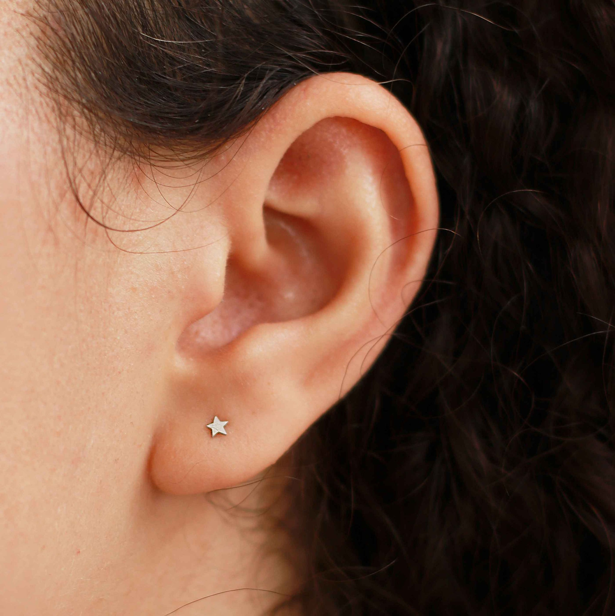 Simple Star Barbell in Silver on Ear Stack