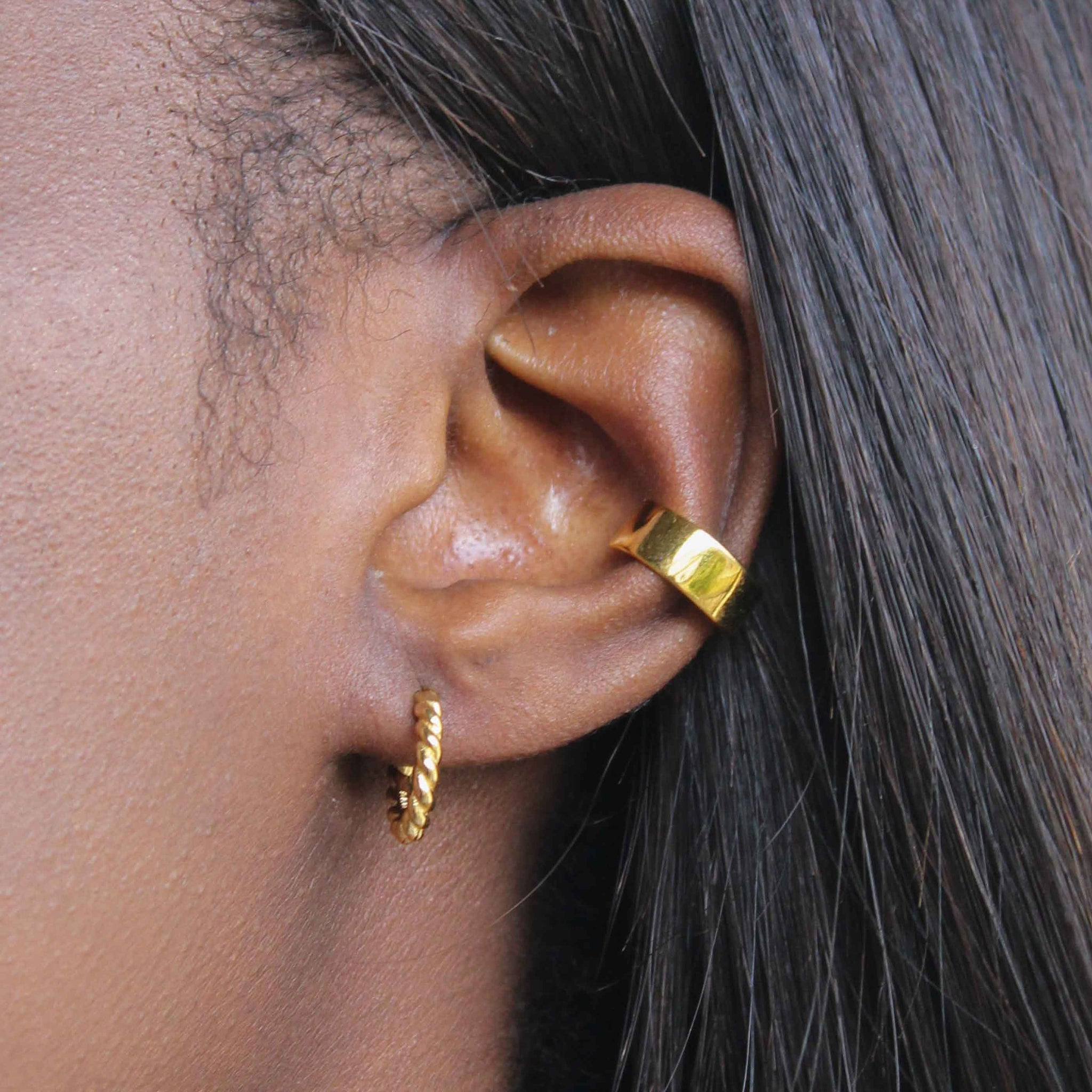 Single Rope Base Hoop in Gold worn with ear cuff