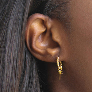 Single Rope Base Hoop in Gold with palm tree earring charm