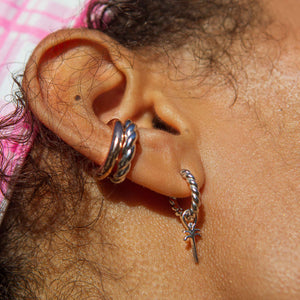 Single Rope Base Hoop in Silver worn with palm tree earring charm