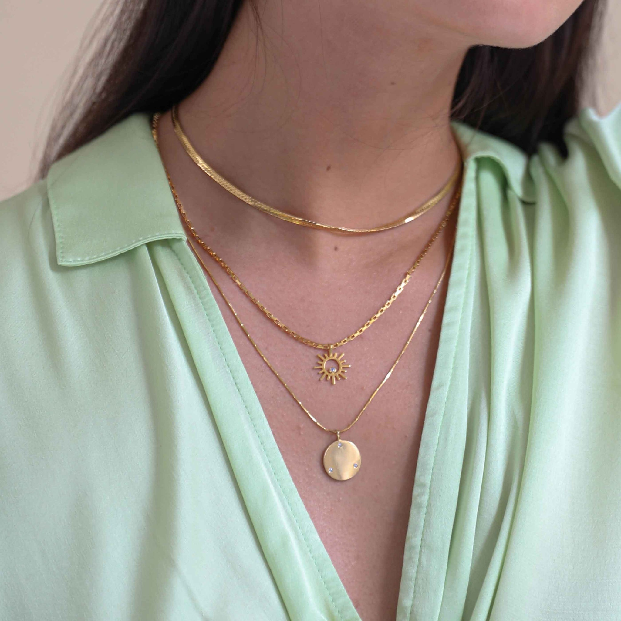 Coin & Stones Necklace Charm in Gold worn on fine bar chain