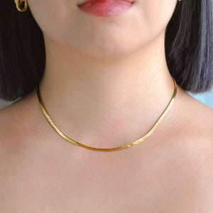 Snake Chain Necklace in Gold worn shot