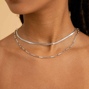 Snake Chain Necklace in Silver worn with long link chain necklace