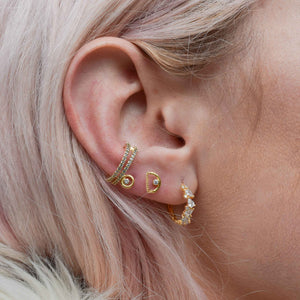 Teardrop Gem Conch Hoop in Gold worn in lobe