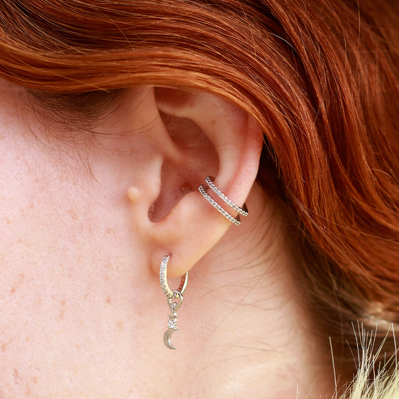 Dia Base Hoop and Star & Moon Earring Charm in Ear