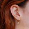 Square Edge Base Hoop with Sun & Pearl Earring Charm in Ear