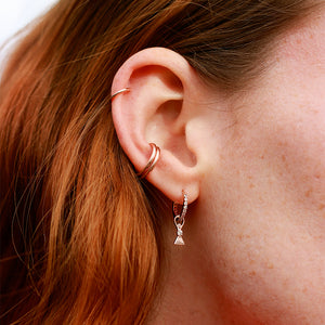 Dia Base Hoop in Rose Gold and Triangle Charm in Rose Gold in Ear Stack