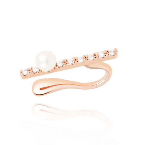 rose gold pearl bar ear cuff