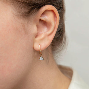 Triangle & Enamel Earring Charm in Gold