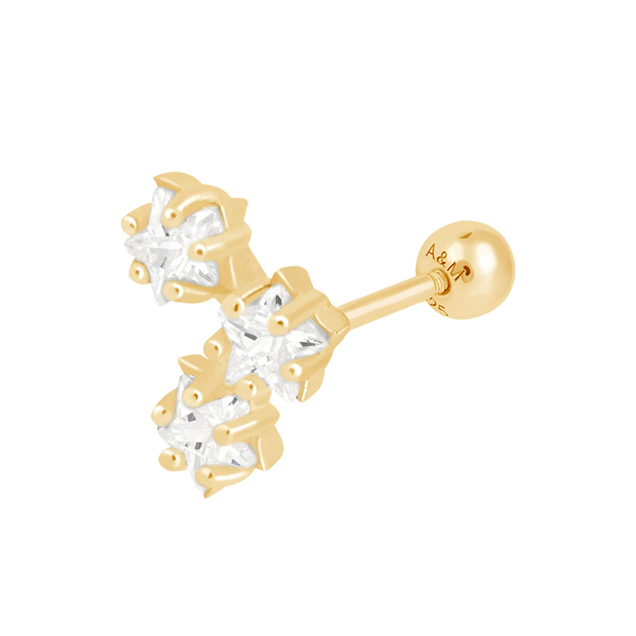 Trinity Star Barbell in Gold
