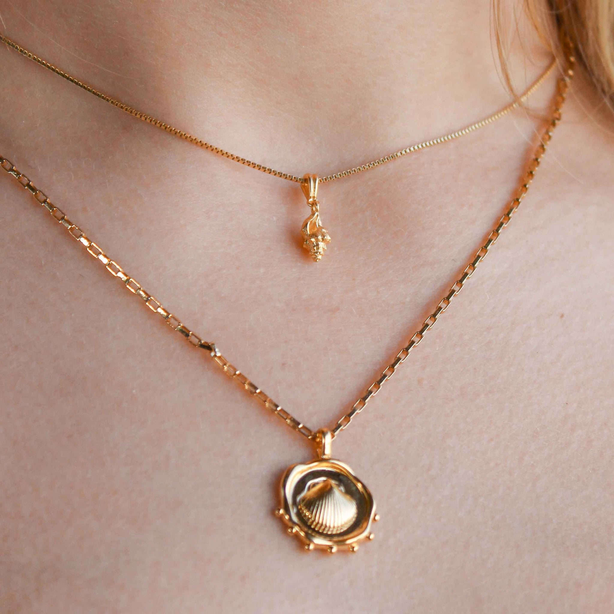 Whelk Shell Necklace Charm in Gold worn on fine chain