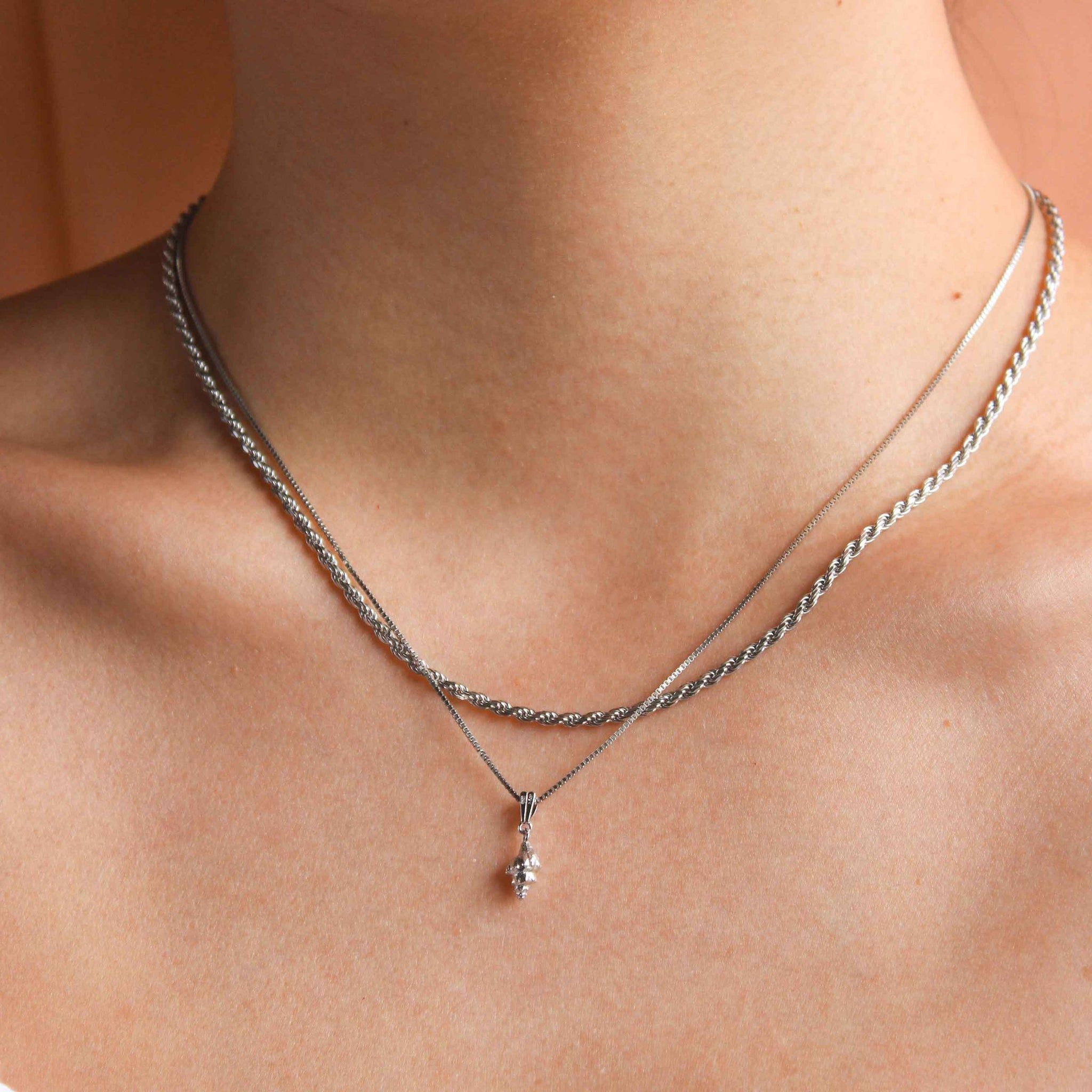 Whelk Shell Necklace Charm in Silver on fine chain