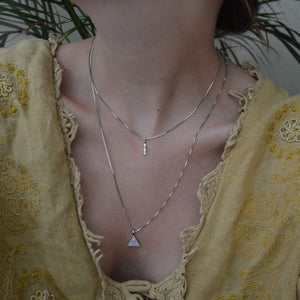 Fine Box Chain 55cm in Silver worn with triangle and enamel necklace charm