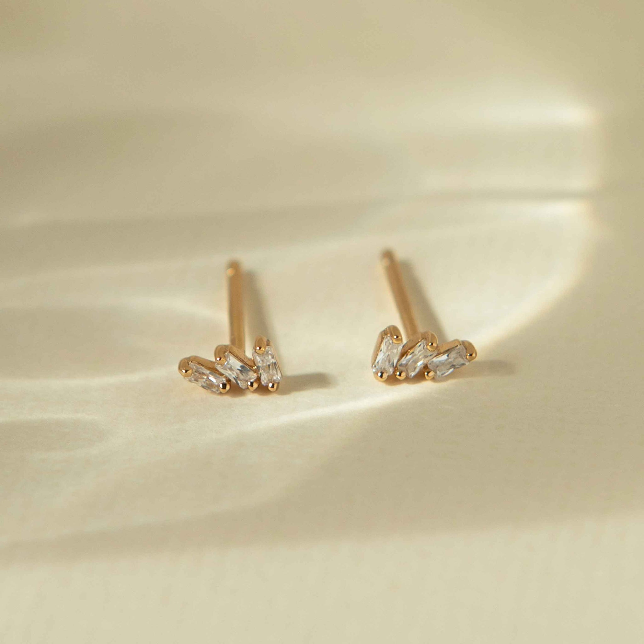 Baguette Crystal Stud Earrings in Gold