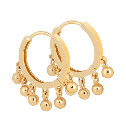 Ball Charm Hoops in Gold