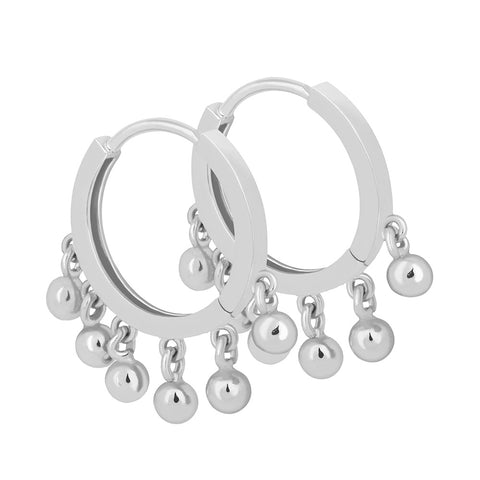 Ball Charm Hoops in Silver