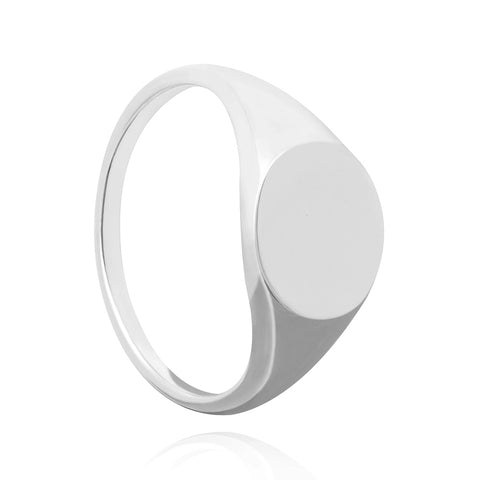 Silver large signet ring