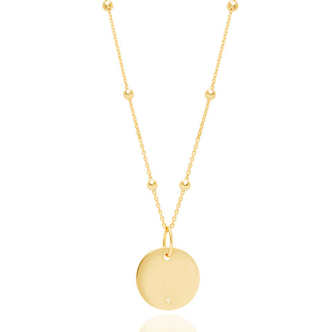 Gold basic coin necklace with diamond