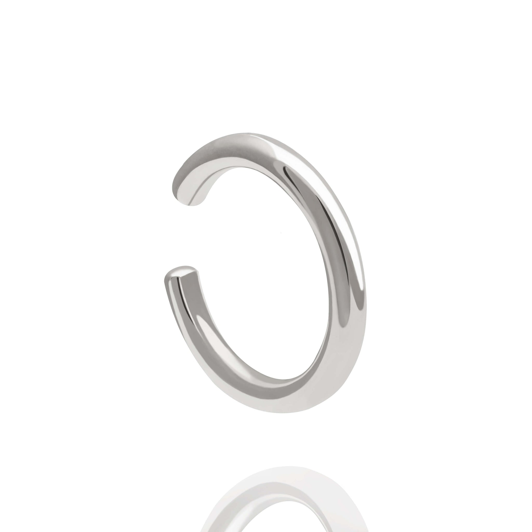Sterling silver, rhodium plated basic or plain ear cuff  Edit alt text
