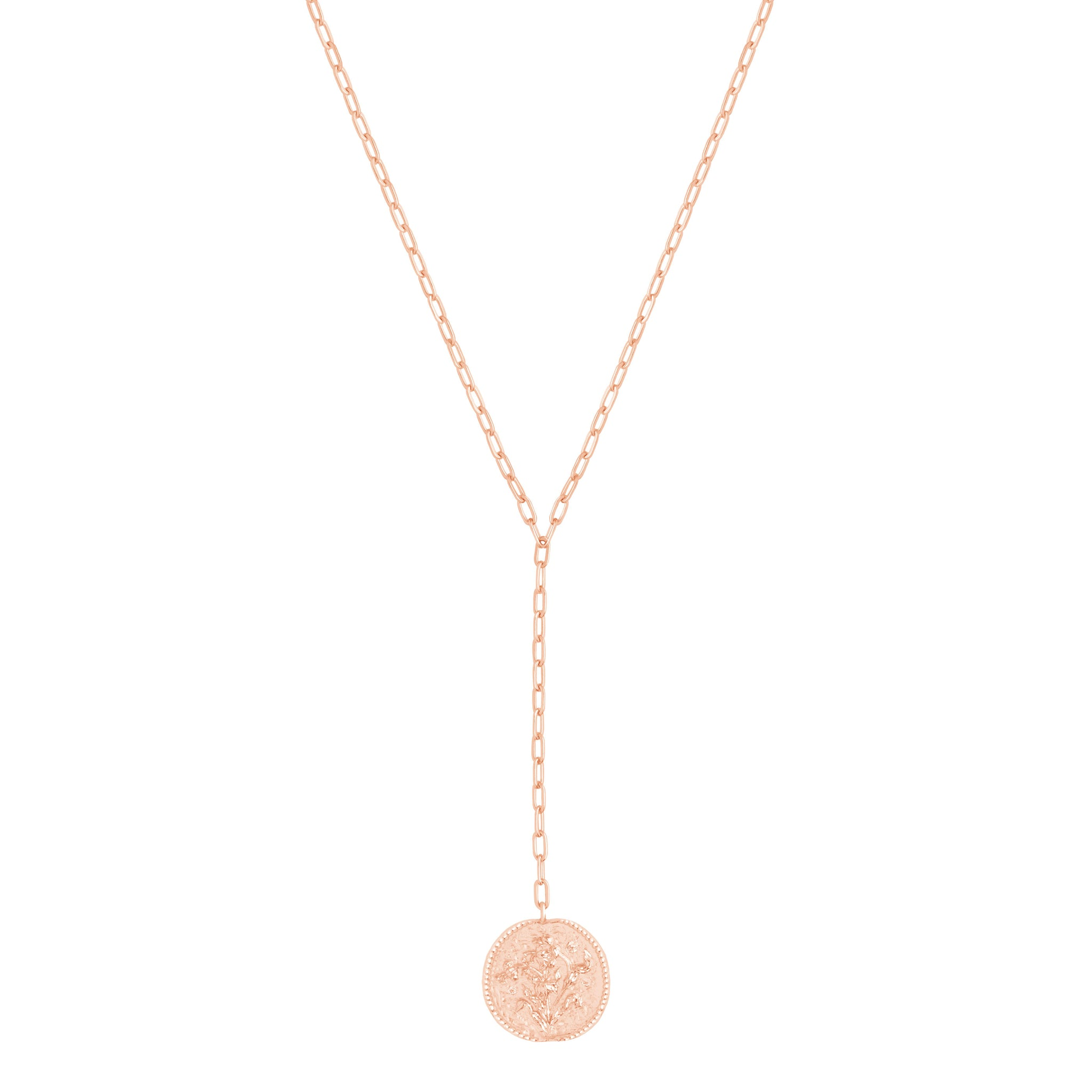 Blossom Coin Lariat Necklace in Rose Gold
