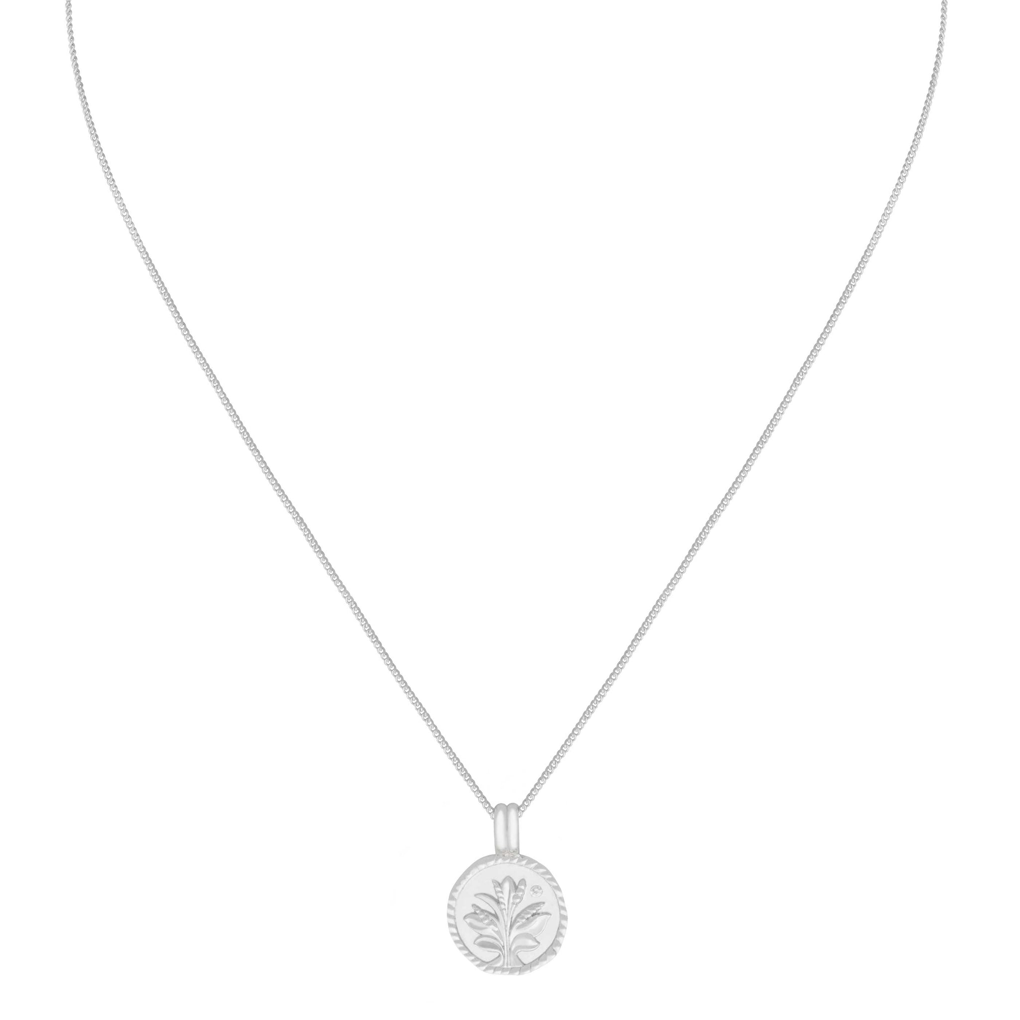 Blossom Coin Pendant Necklace in Silver