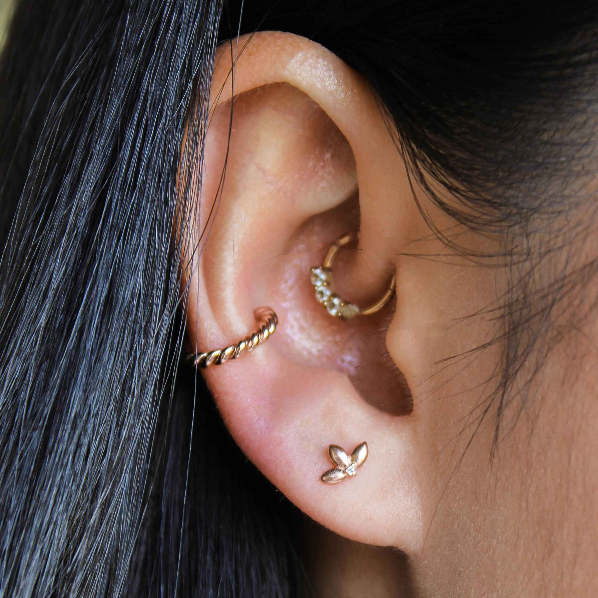 Botanist Barbell in Rose Gold worn with rope ear cuff