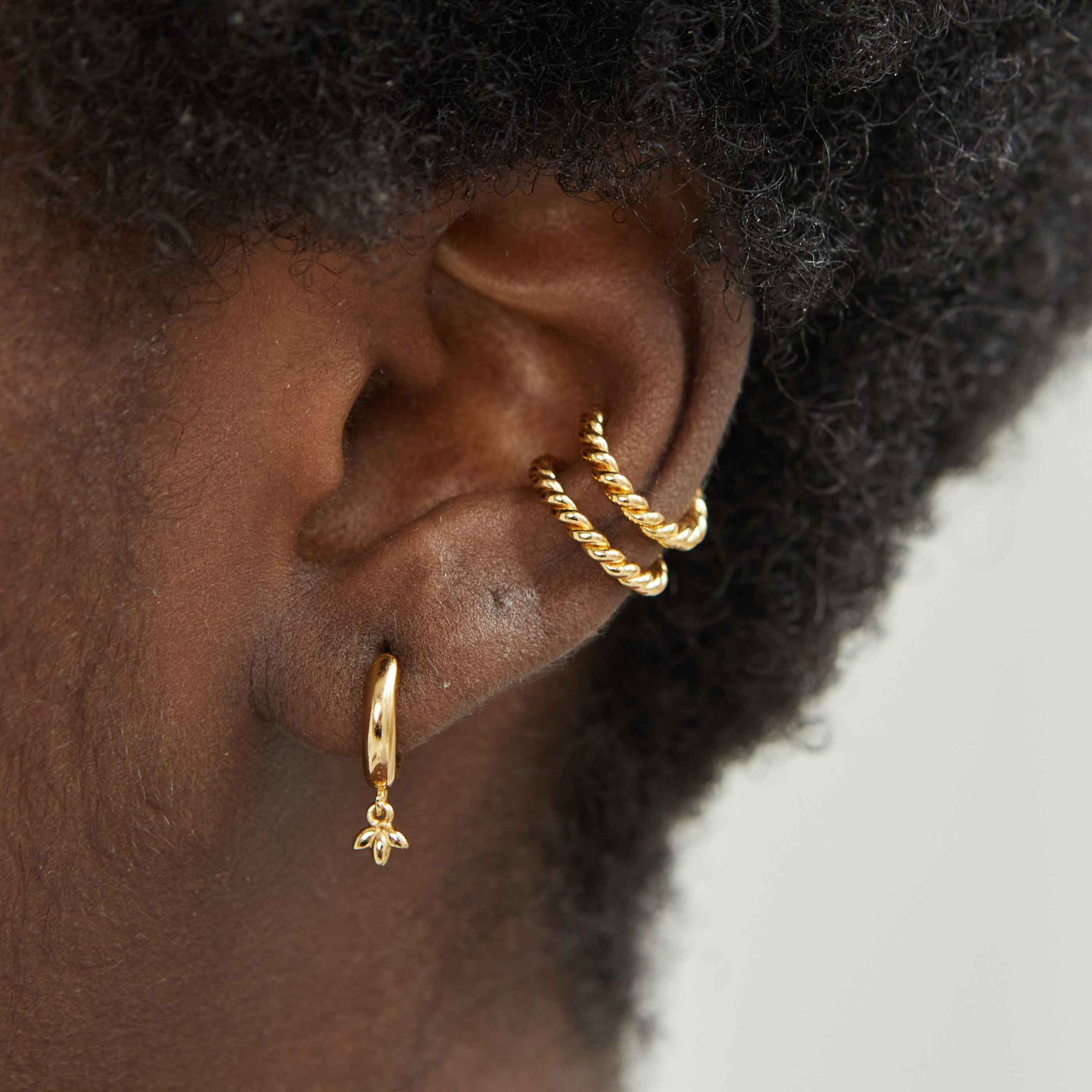 Botanist Pendant Hoops in Gold worn with rope ear cuff