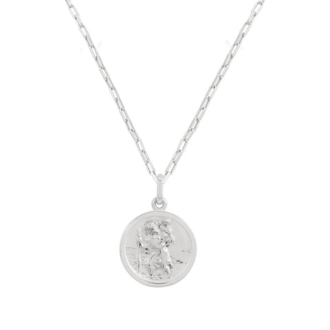 circle medallion necklace silver
