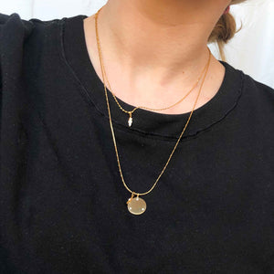 Coin & Stones Necklace Charm in Gold worn shot