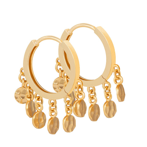 Coin Charm Hoops in Gold