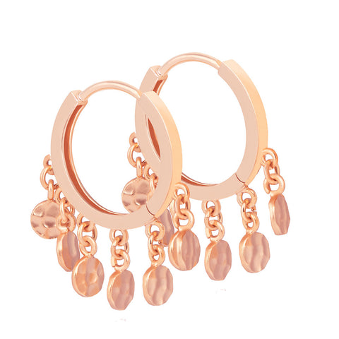 Coin Charm Hoops in Rose Gold
