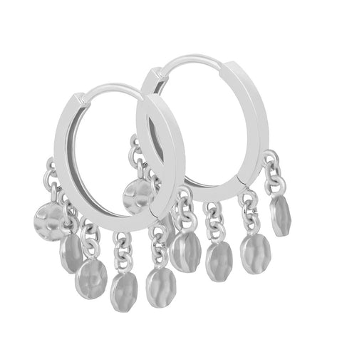 Coin Charm Hoops in Silver