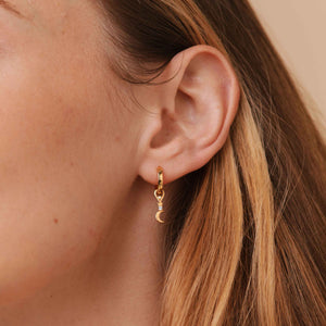 Star & Moon Earring Charm in Gold worn with square base hoop