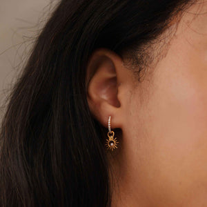 Sun & Pearl Earring Charm in Gold worn with dia base hoop