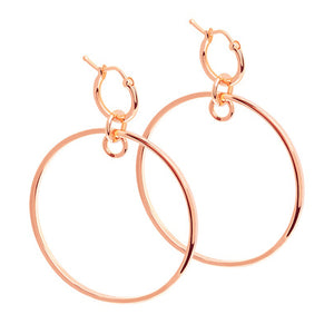Rose gold crossing lines hoops