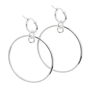 Silver crossing line hoops