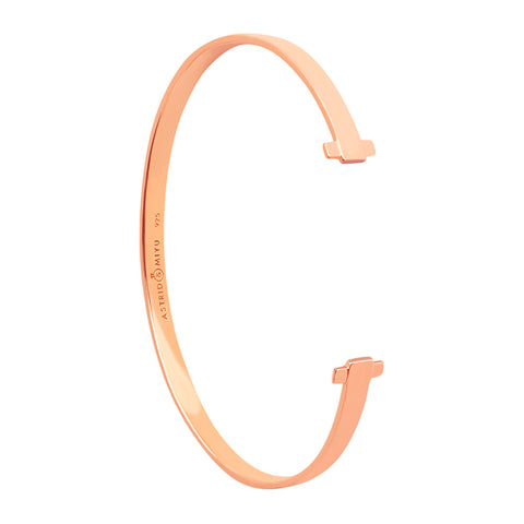 Rose gold crossing lines locking bangle