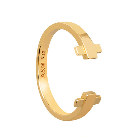 Gold crossing lines locking ring