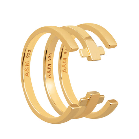 Gold crossing lines ring stack